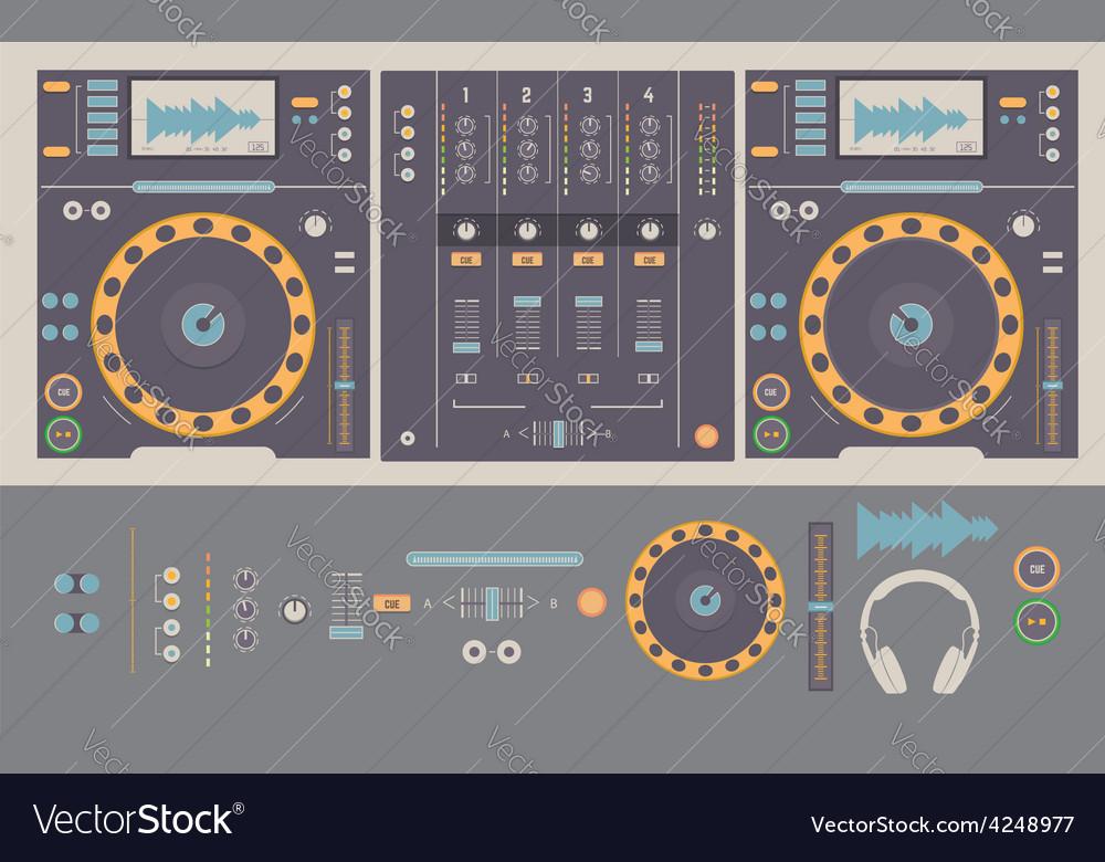 Dj mixing decks and elements vector image