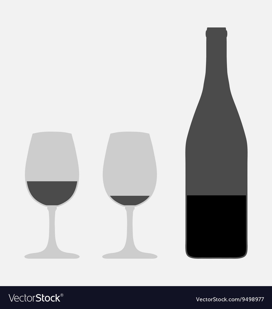 Glasses and bottle vector image