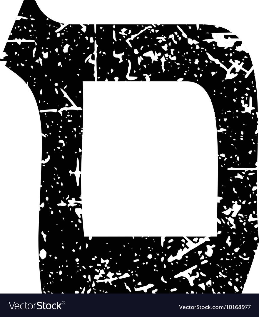 Hebrew letter Mem Shabby black font The Hebrew