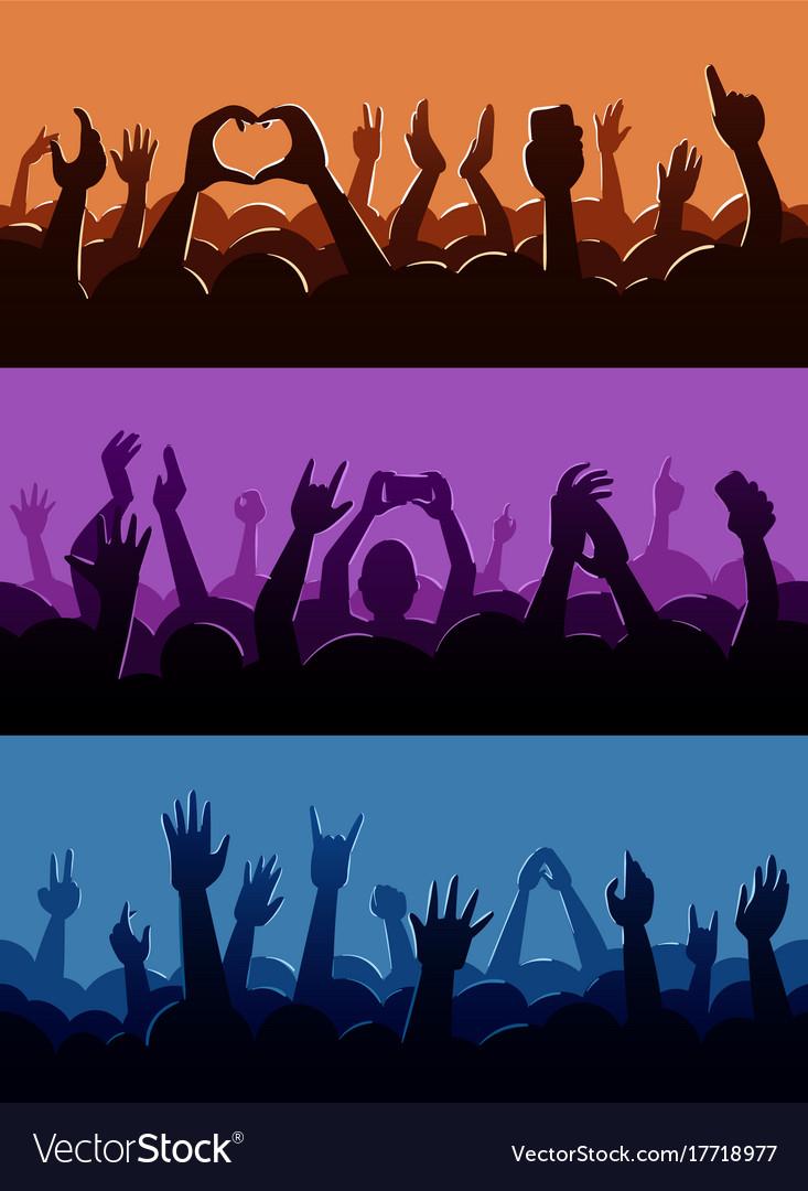 Human fan hands silhouette on music concert