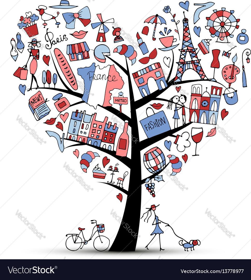 I love france art tree sketch for your design