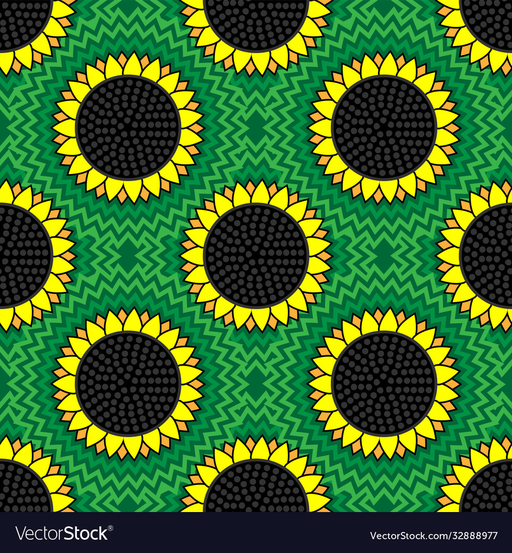 Seamless sunflower pattern on a green background