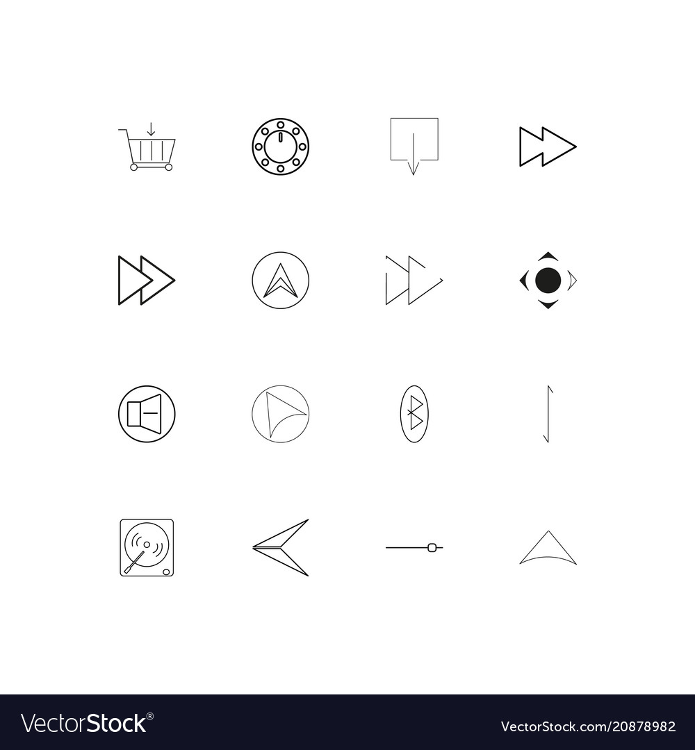 Buttons linear thin icons set outlined simple