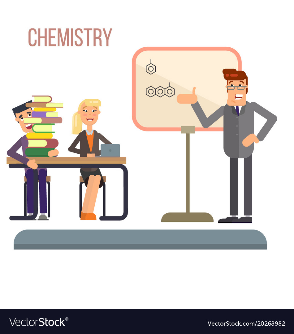 chemistry lesson in college royalty free vector image rh vectorstock com Biology Clip Art Organic Chemistry Clip Art