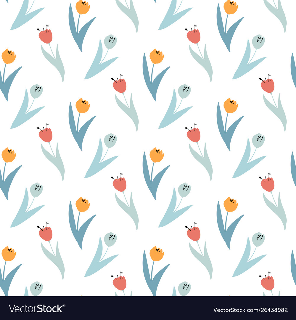 Cute pattern in small wildflowers and tulips