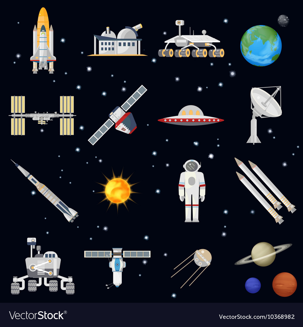 Exploring space technology flat icon set vector image