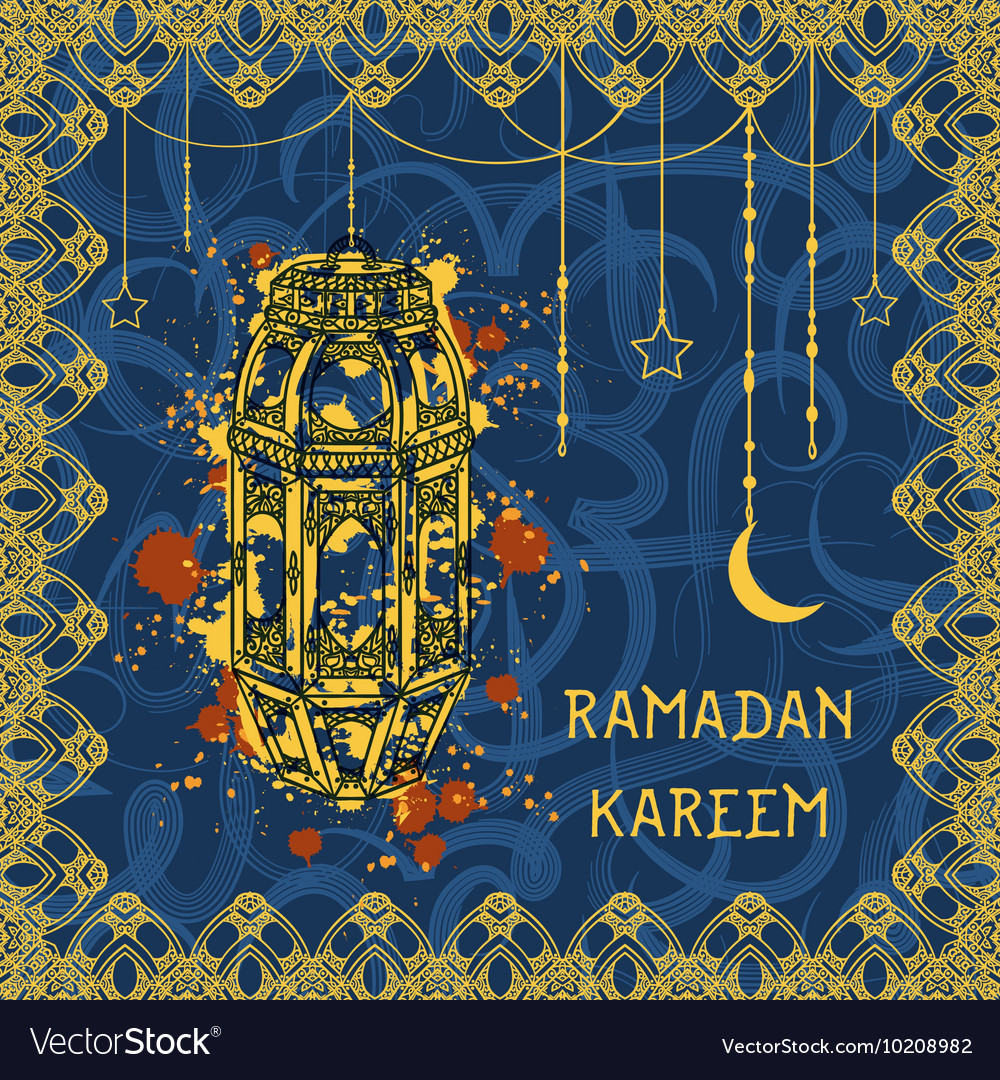 Greeting card for muslim festival ramadan kareem vector image m4hsunfo