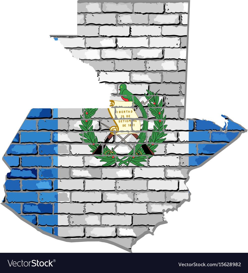 Guatemala map on a brick wall vector image