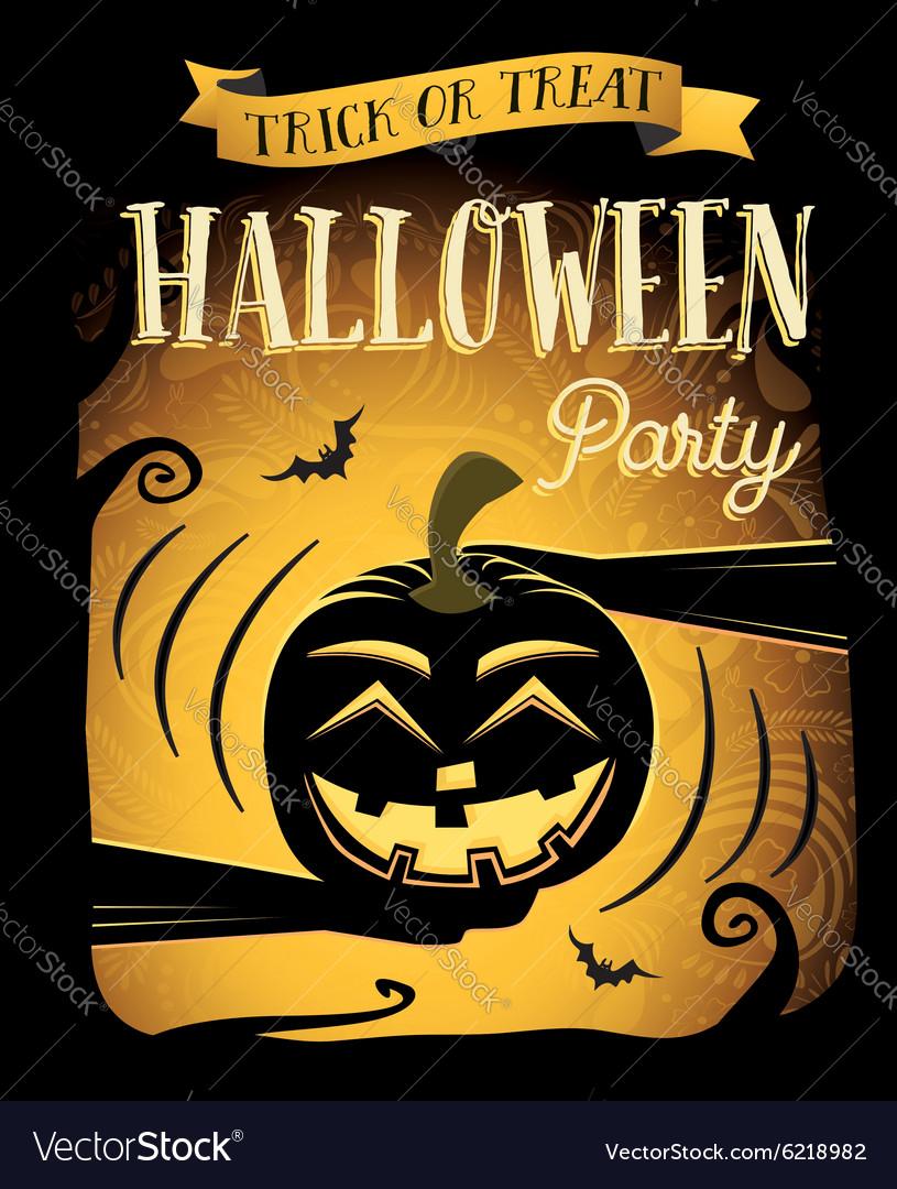 Happy Halloween poster with laugh pumpkin