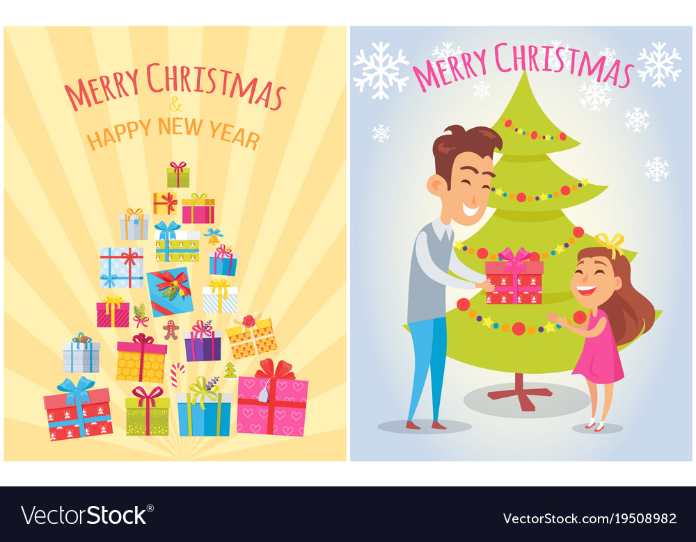 Merry Christmas And Happy New Year Postcards Set Vector Image