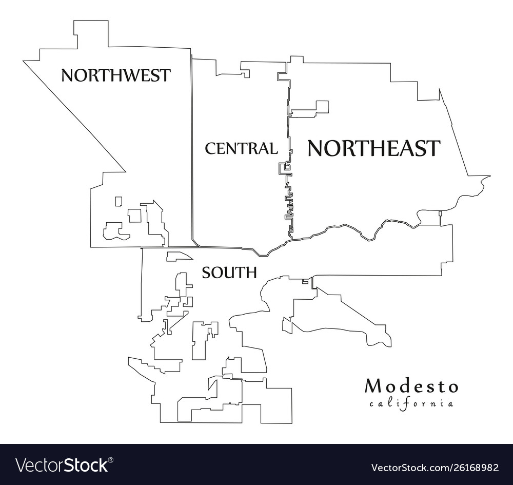 Modern city map - modesto california city the