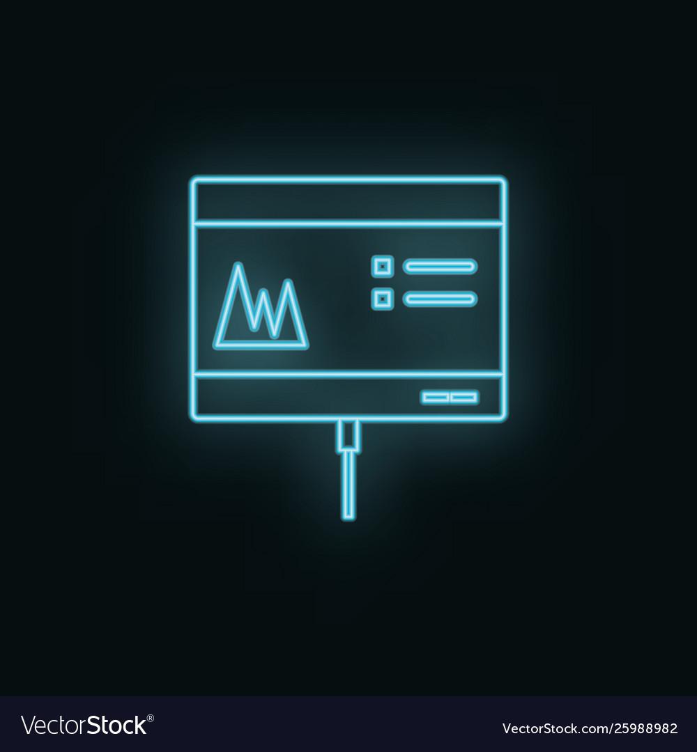Monitor graphic neon icon web development icon