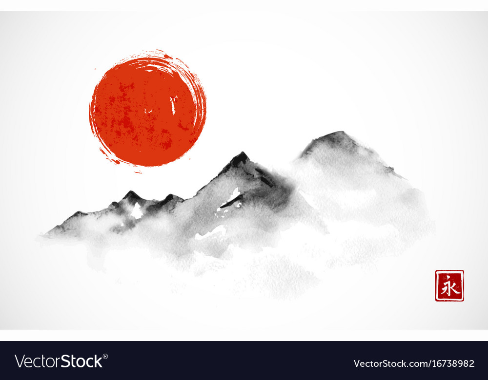 Mountains and red sun hand drawn with ink in