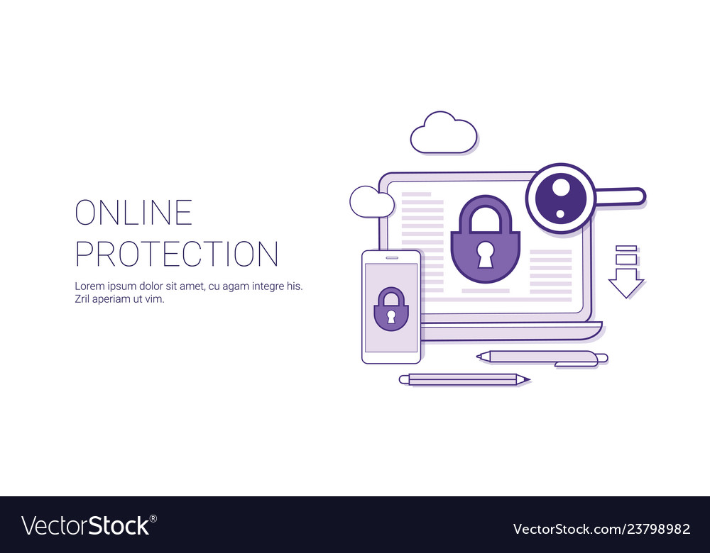 Online protection web security technology concept