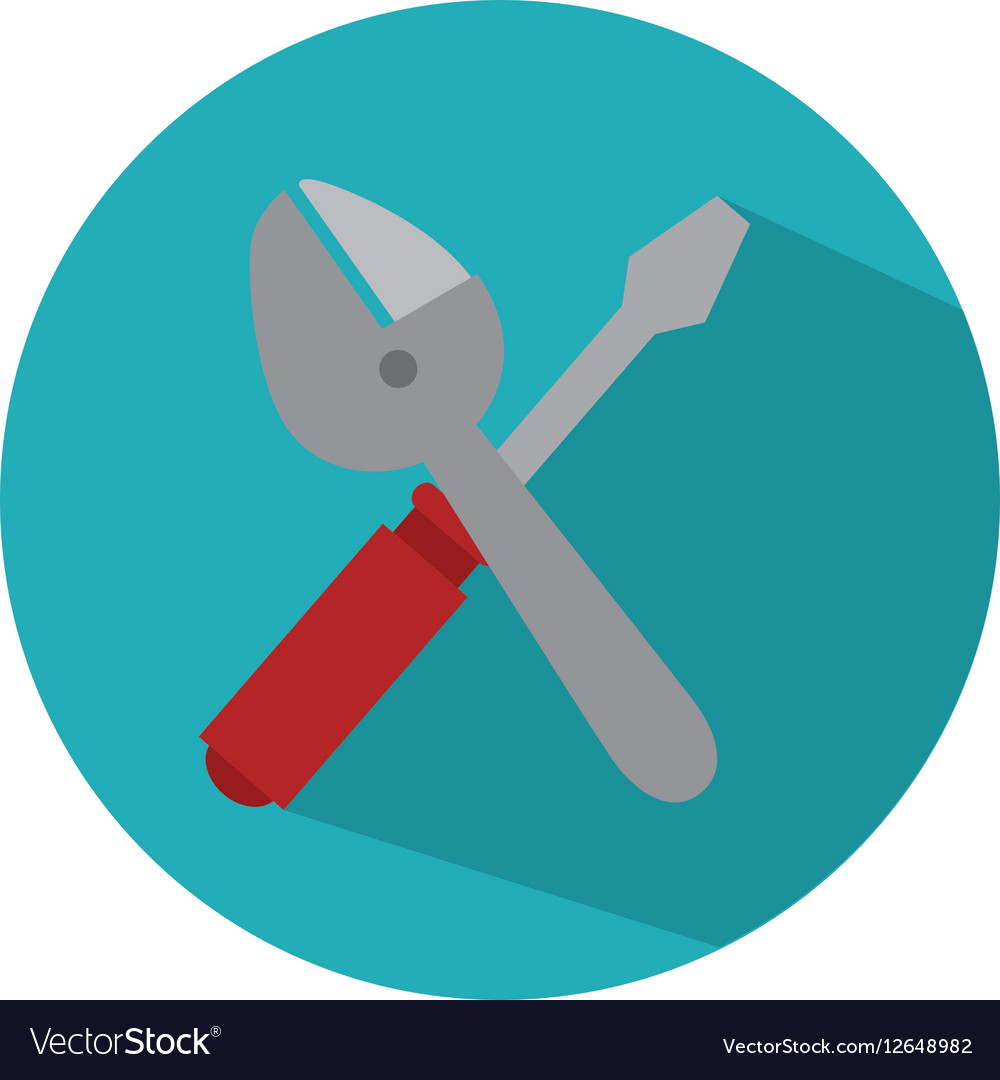 Screwdriver and wrench isolated icon