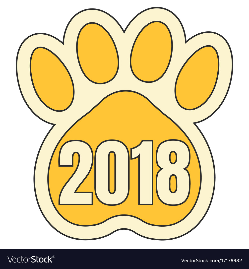 Trail paws yellow dog symbol 2018 chinese calendar