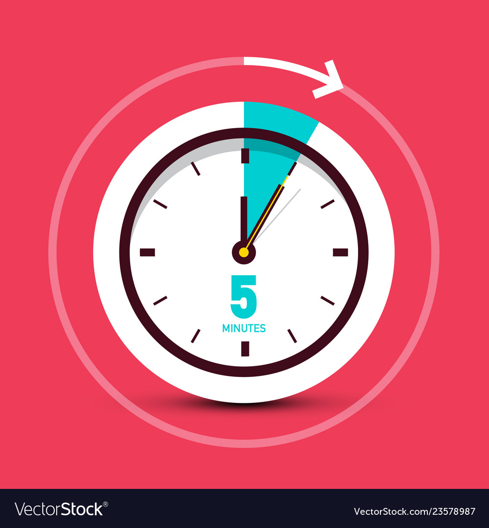 5 five minutes clock icon with arrow on red