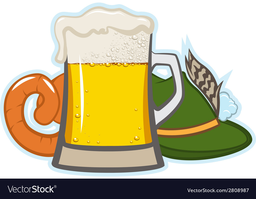 A glass of beer hat with feather and sausage vector image