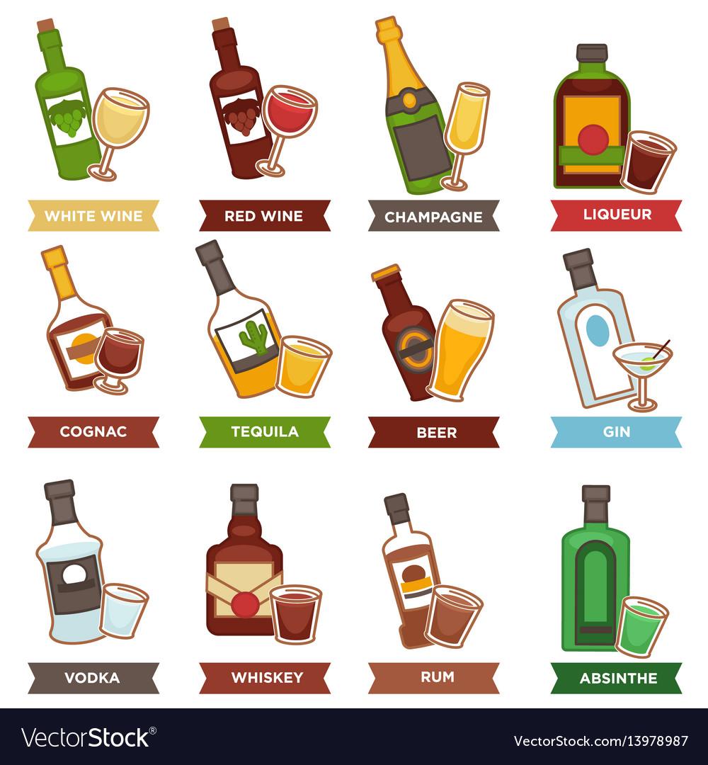 Alcohol drinks bottles and cocktails glasses