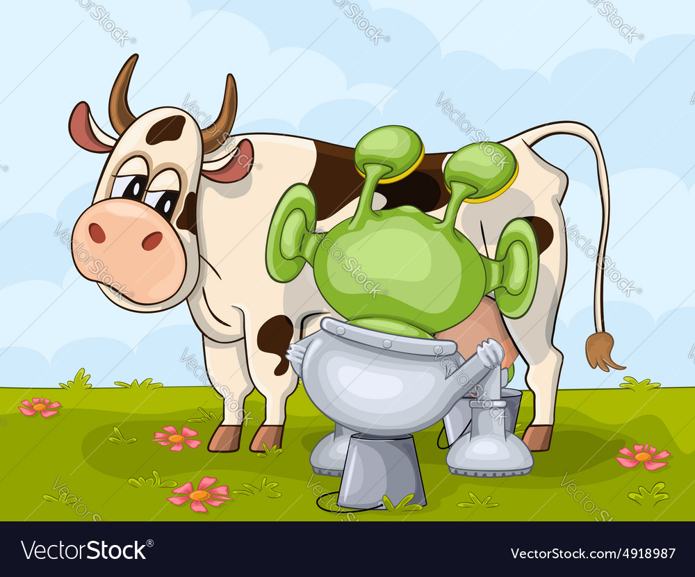 Alien and cow vector image