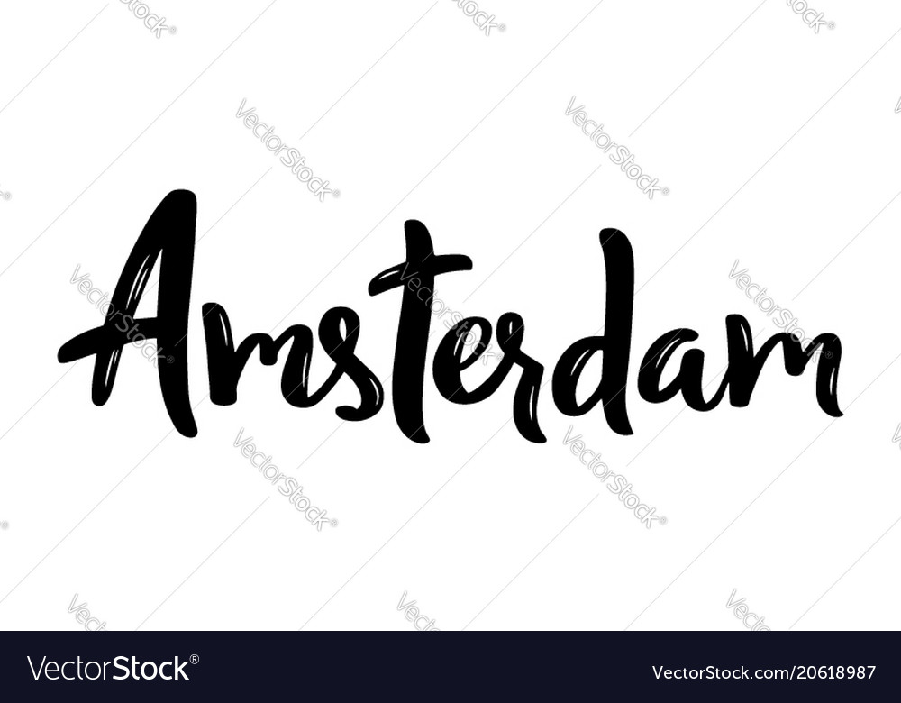 Amsterdam hand-lettering calligraphy hand drawn vector image