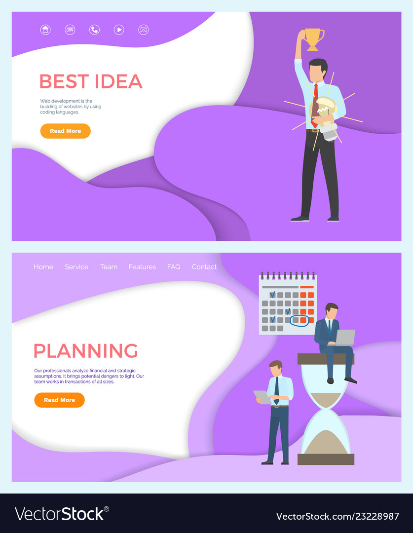 Best Idea Web Page Template Man Planning Yzing Vector Image