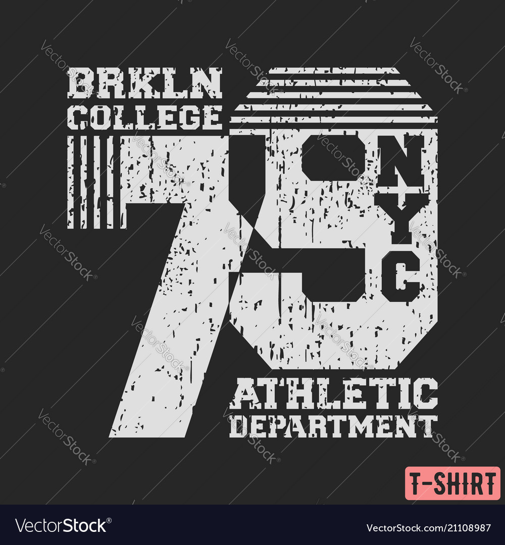 Brooklyn nyc college t-shirt textured stamp