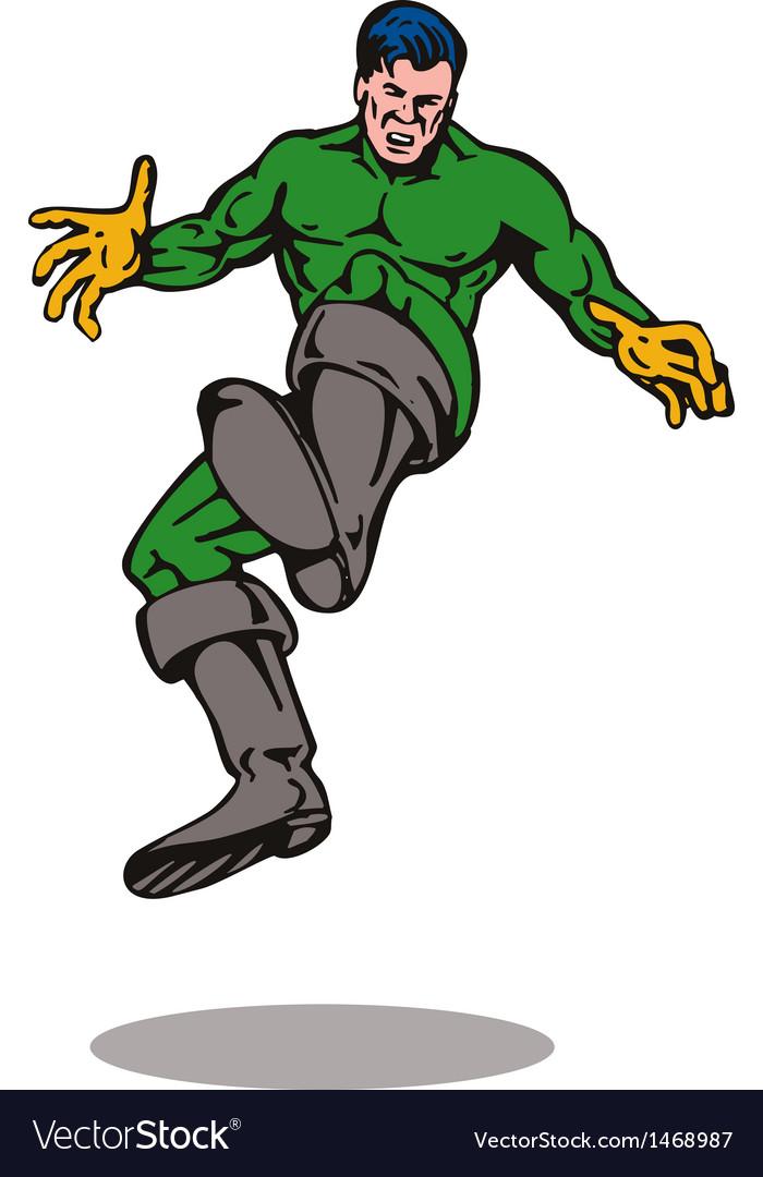 Cartoon super hero kicking