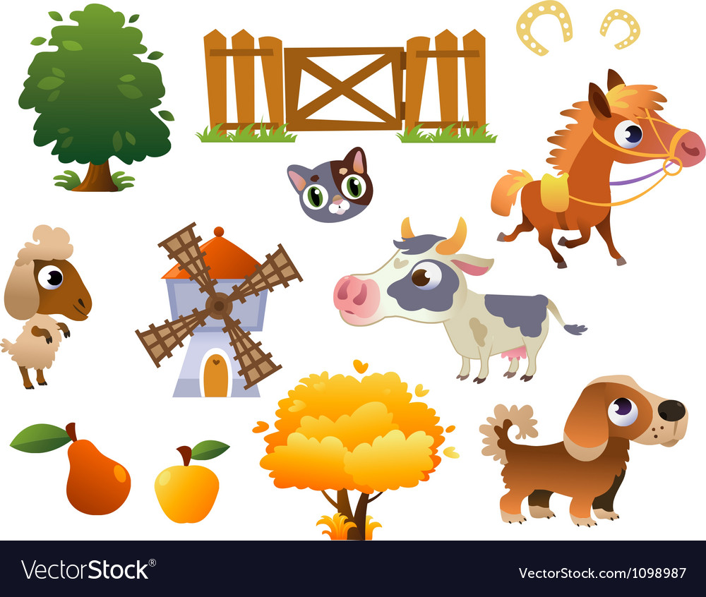 Collection of farm animals vector image
