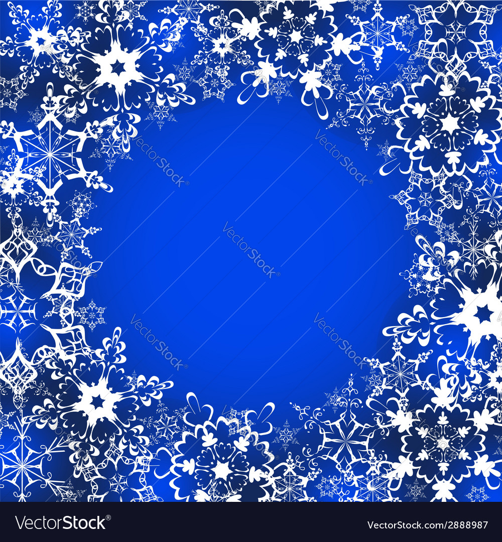 Decorative winter frame with ornate snowflakes