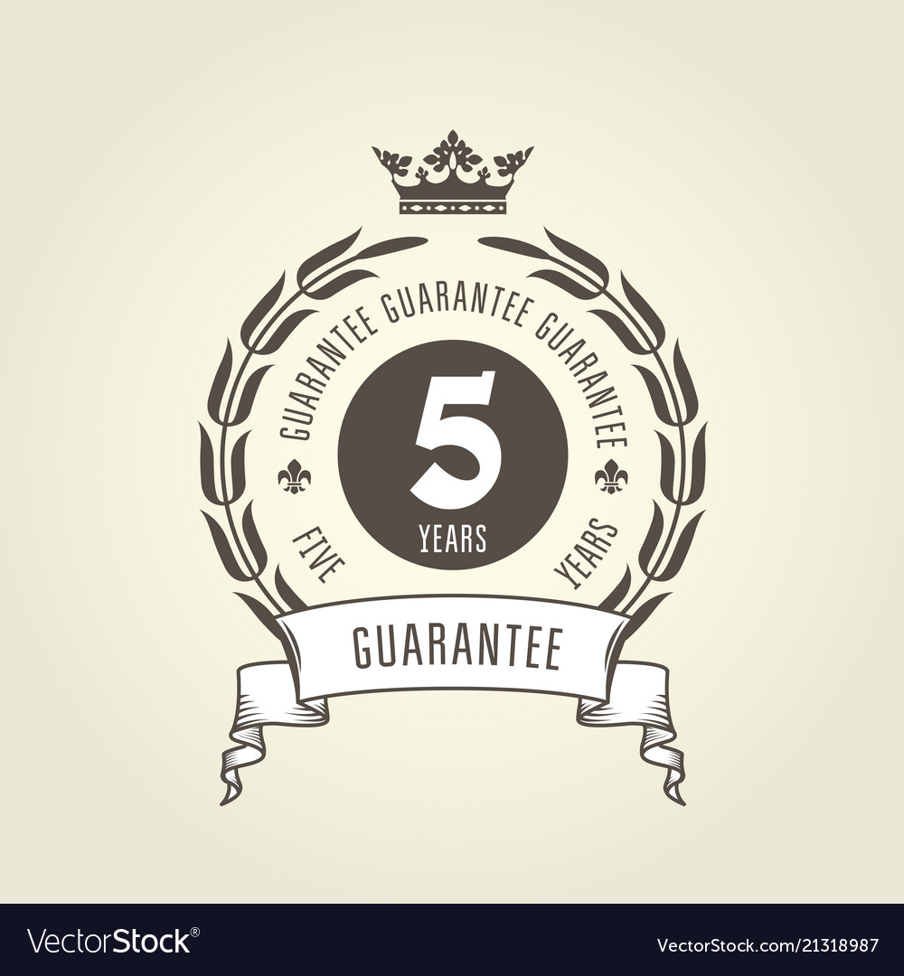 Five years warranty seal - chic guarantee emblem