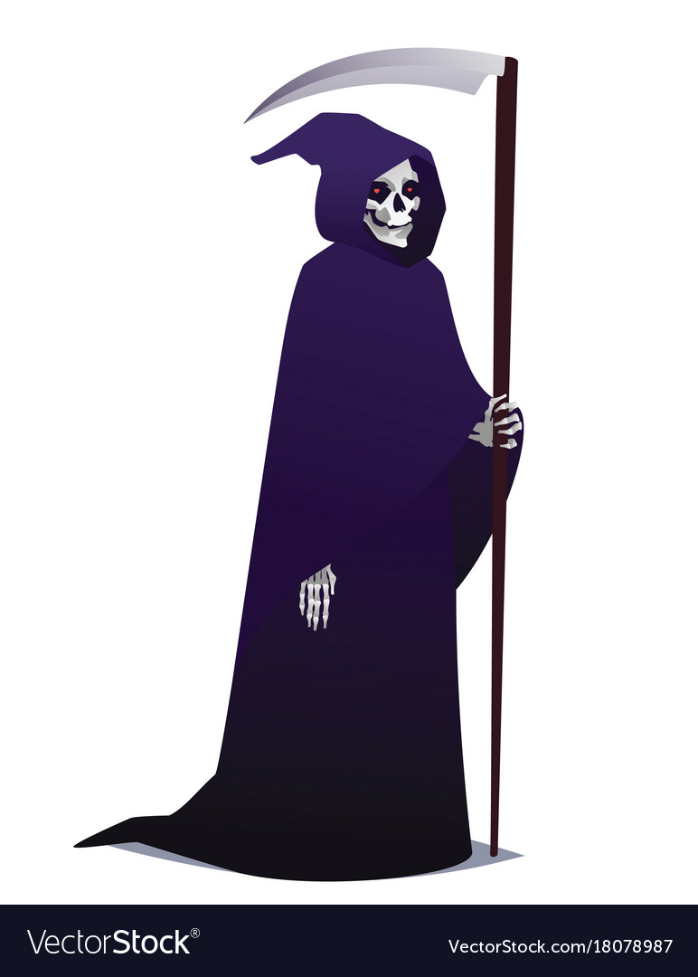 Grim reaper holding scythe death character in