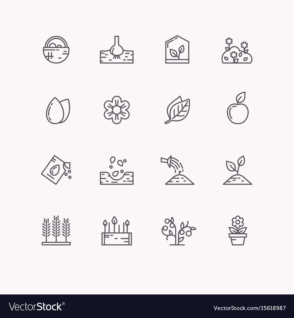 Line icons for gardening