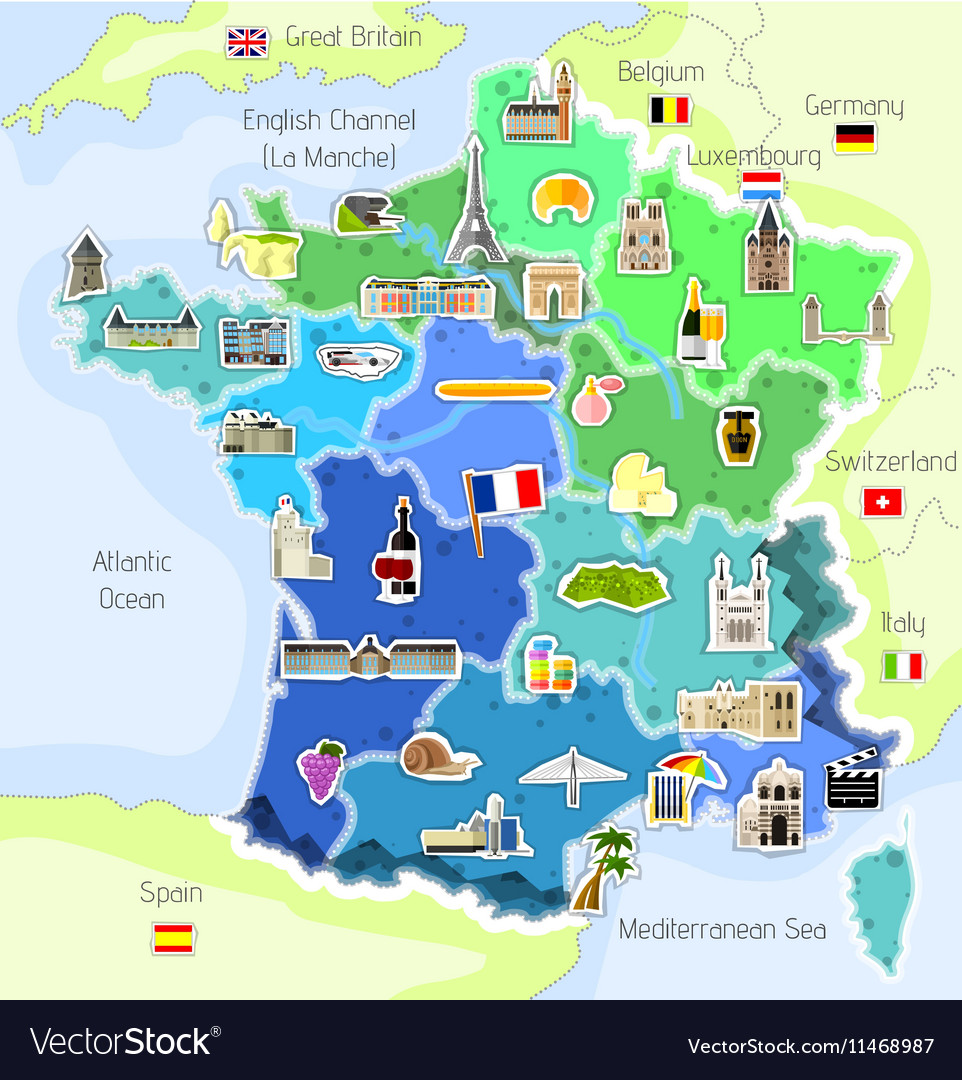 Map Of France And Luxembourg.Map Of France With Landmarks