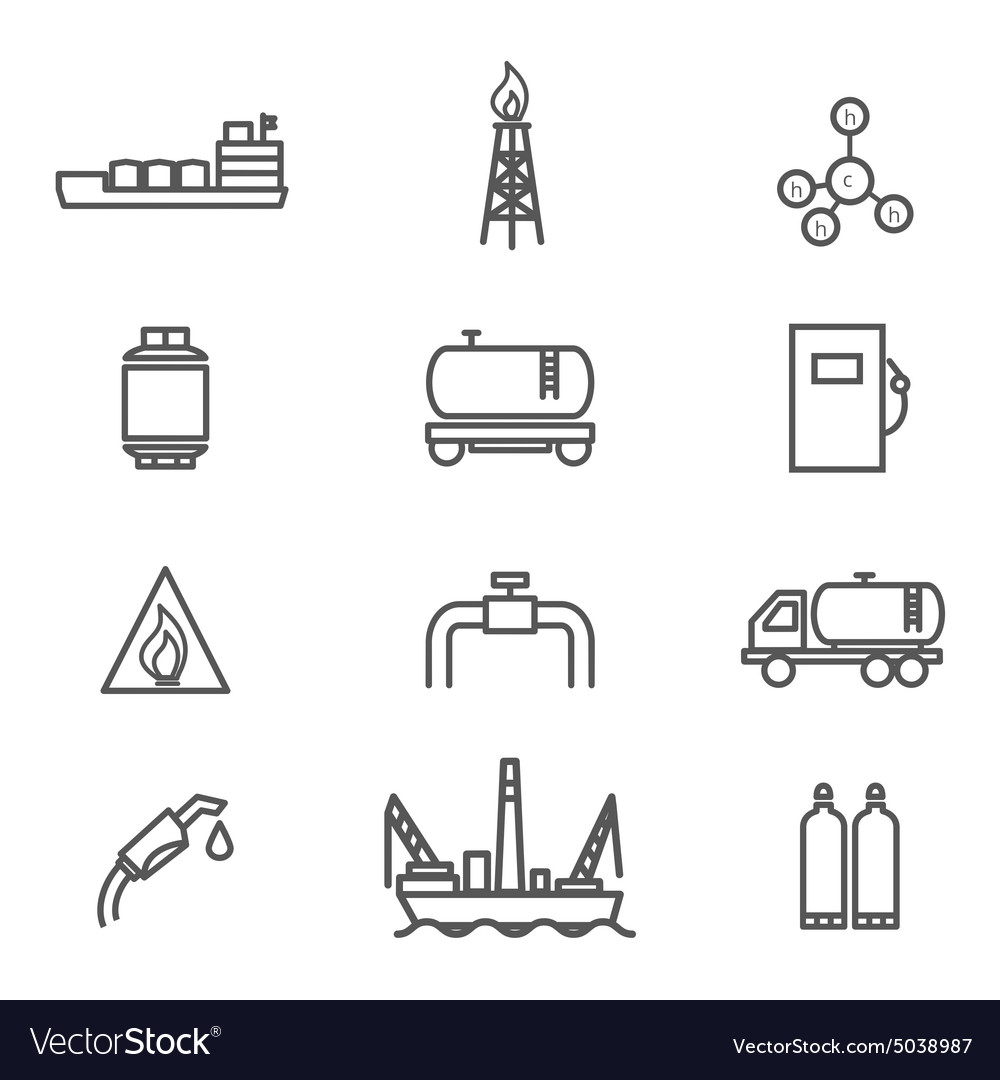Natural gas line icons set