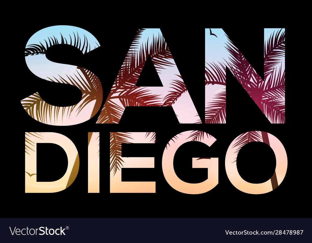 San diego california beach design t shirt retro