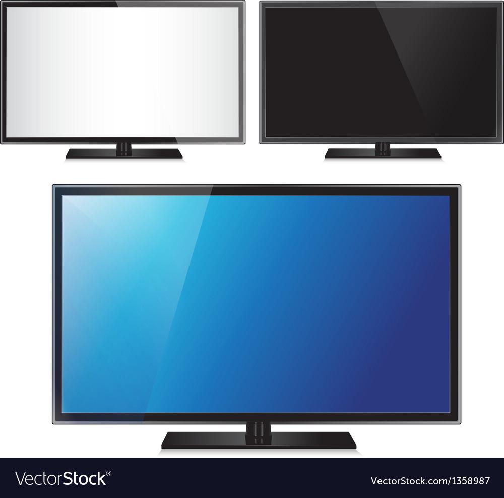 Set three tv flat screen lcd plasma realistic