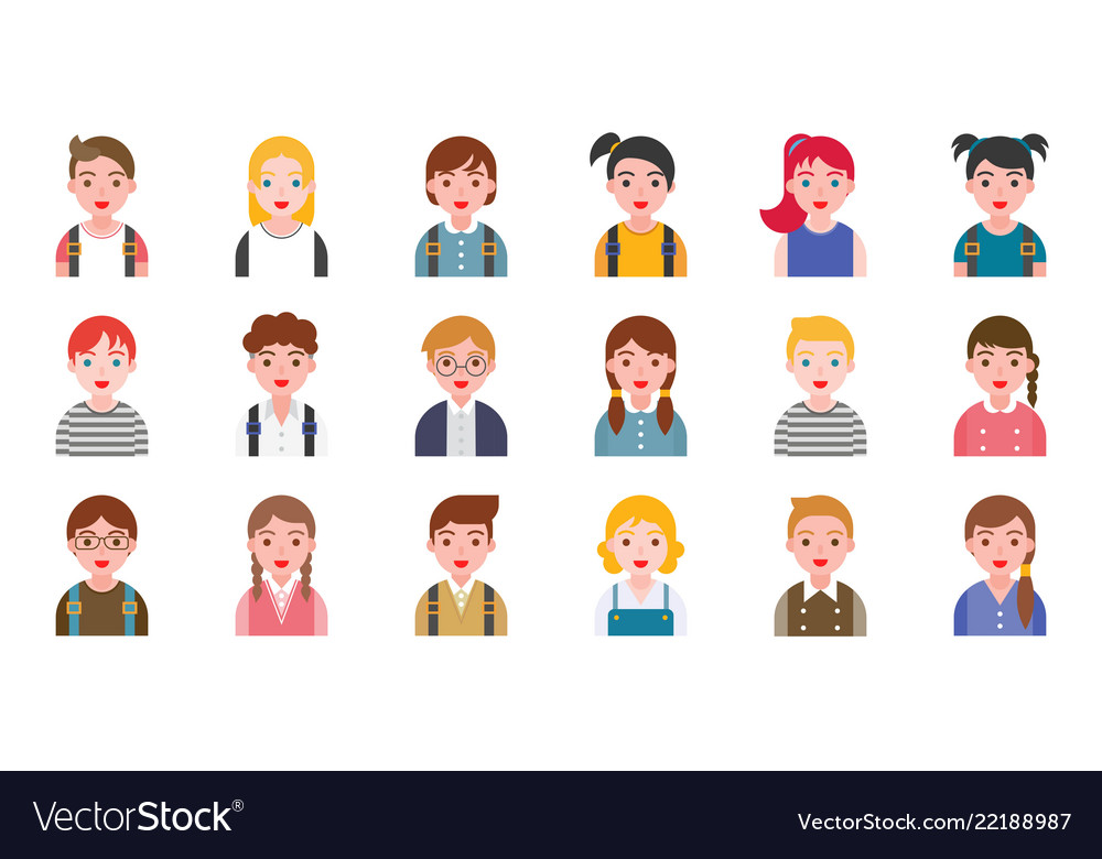 Student avatar with various hair style flat design