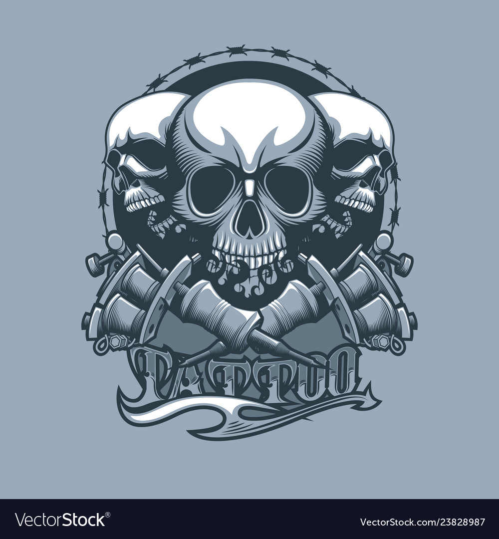 Tattoo machines and three skulls with beautiful