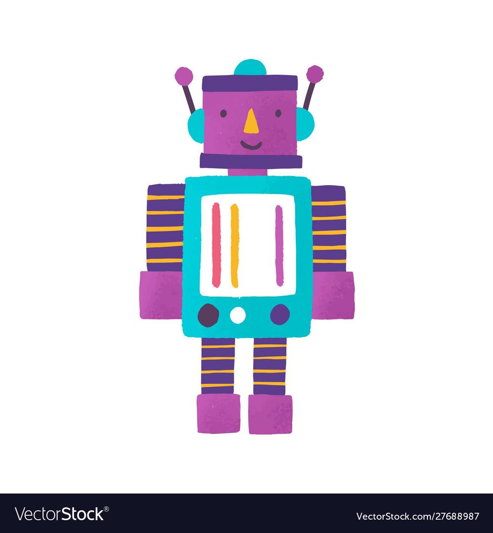 Toy robot flat childish