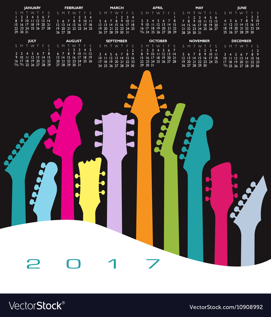 2017 calendar Guitar head Landscape
