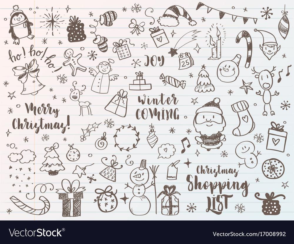 Big set of christmas design element in doodle vector image