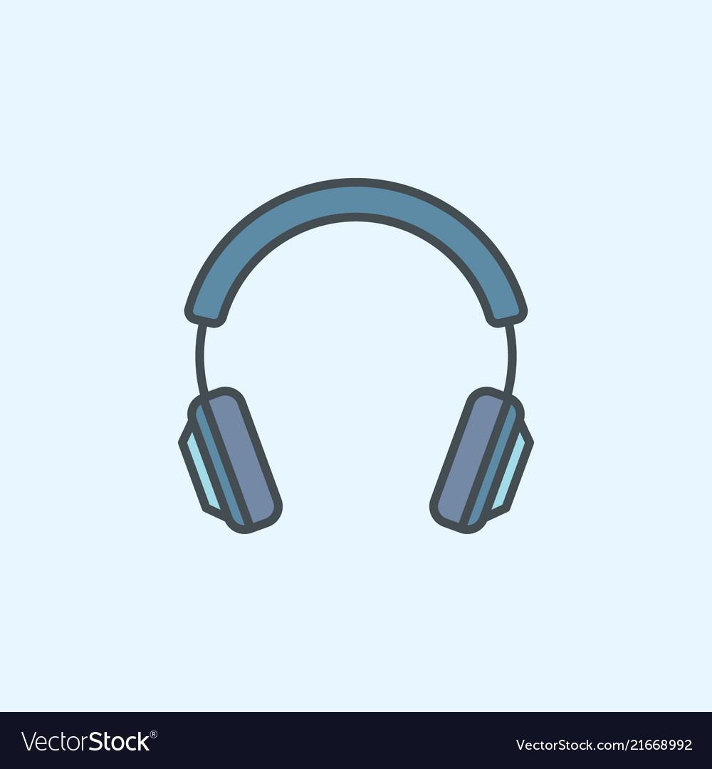 Blue headphone icon headphone concept