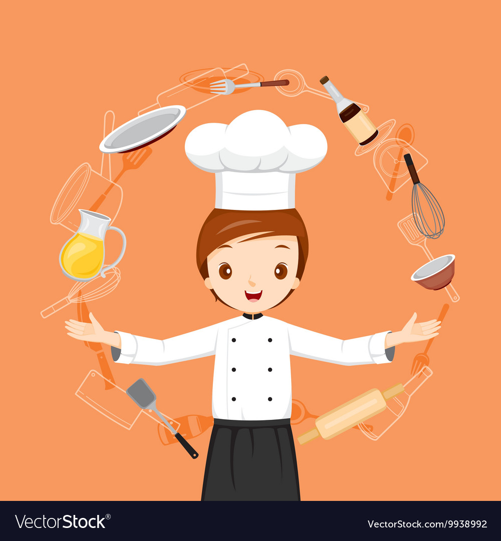 Chef With Kitchen Appliances Objects And Icons