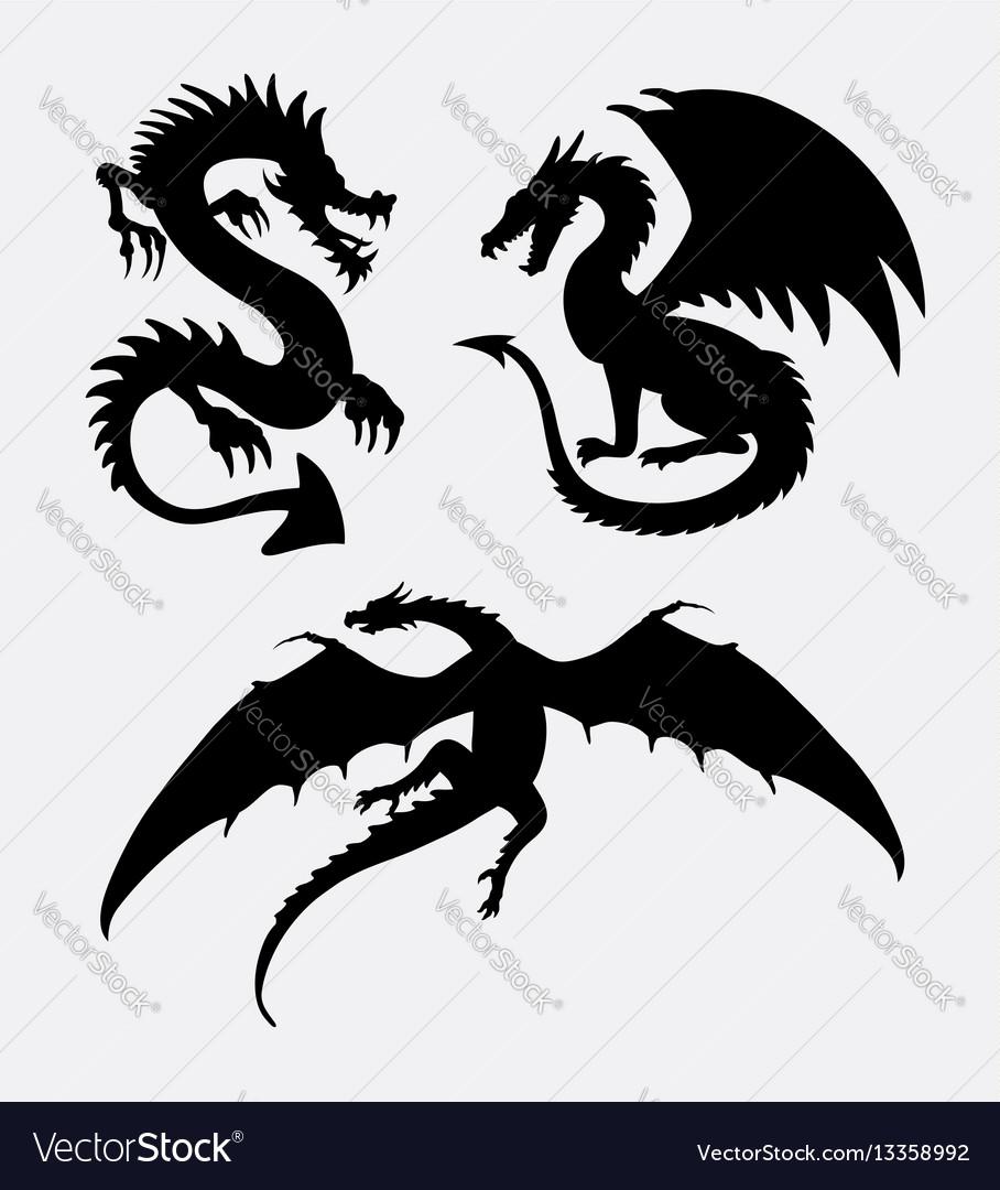 Dragon fantasy monster design silhouette