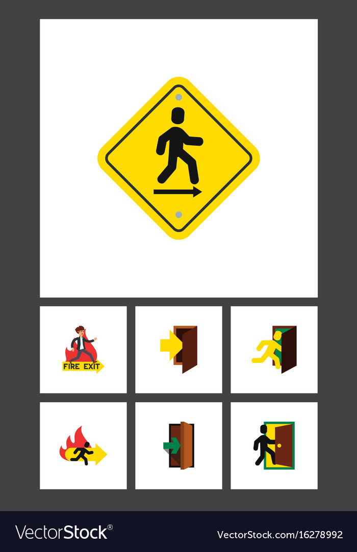 Flat icon emergency set of direction pointer