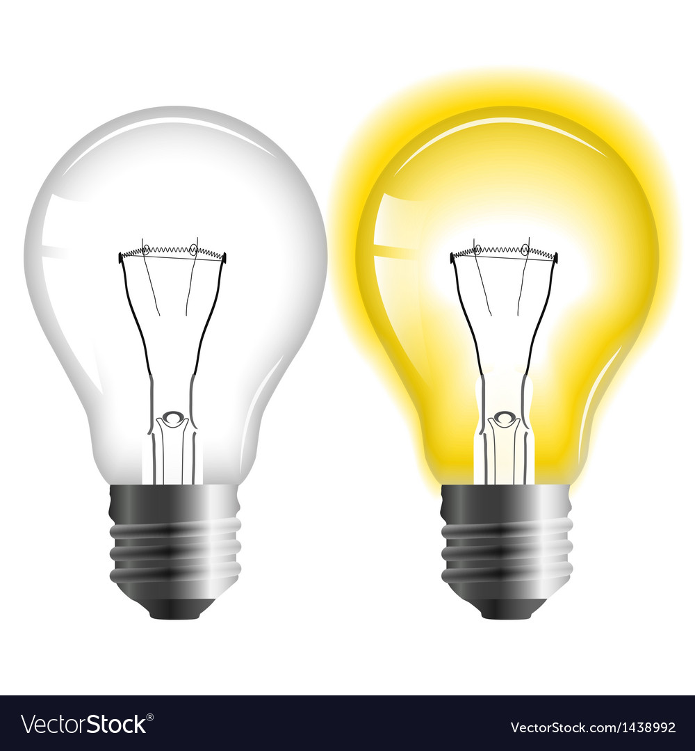 Glowing And Turned Off Light Bulb Royalty Free Vector Image