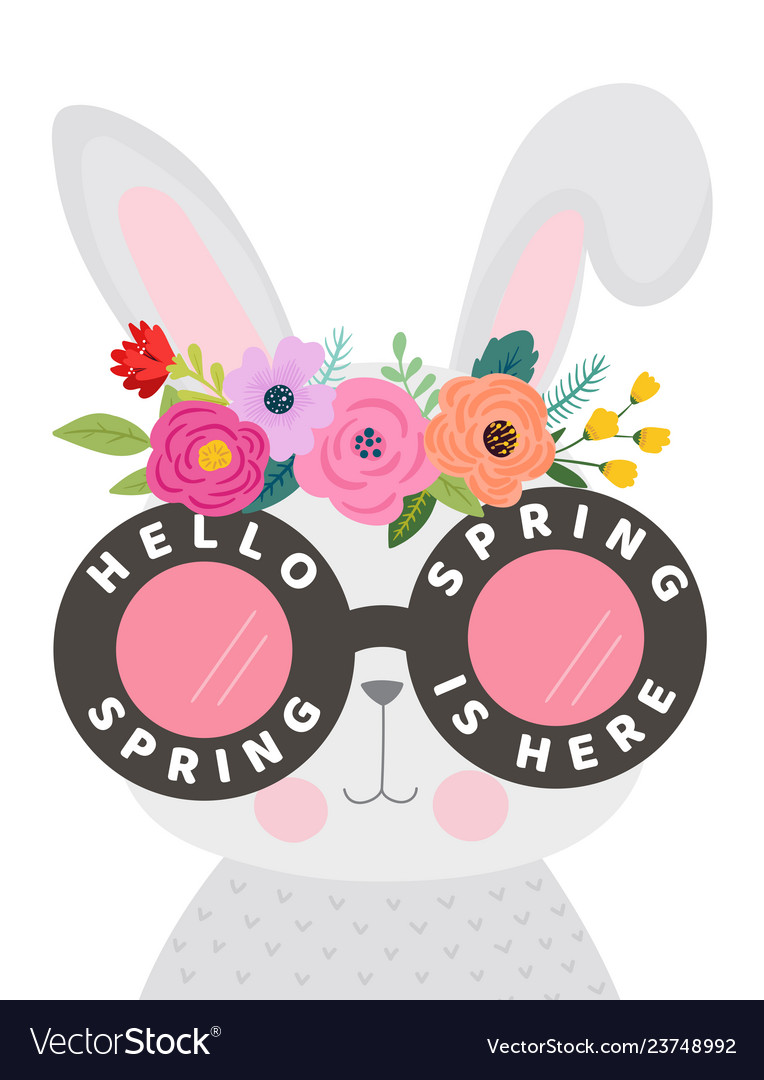 Hello spring card with cute bunny in eyeglasses