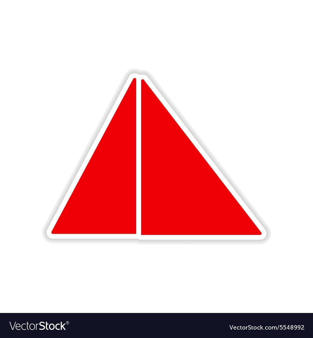 Icon sticker realistic design on paper pyramids