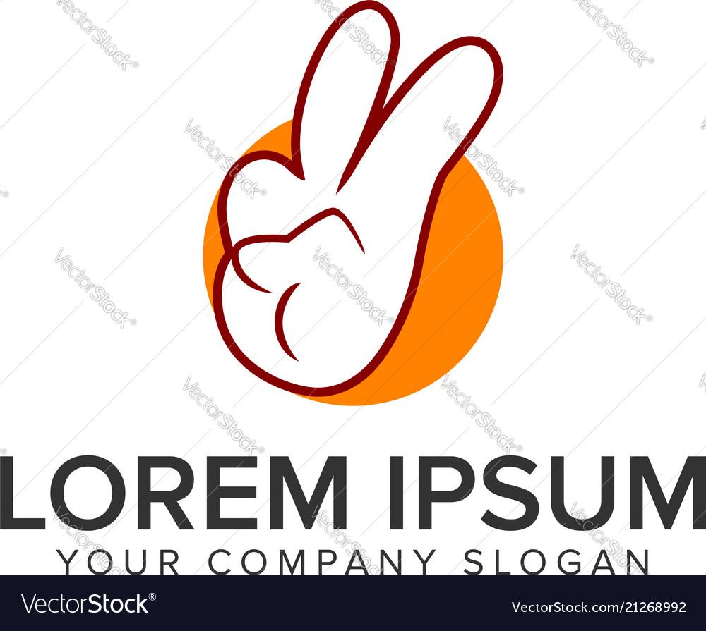 Peace hand finger cartoon logo design concept